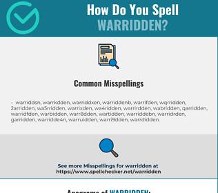 Correct spelling for warridden