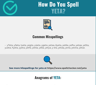 Correct spelling for yeta