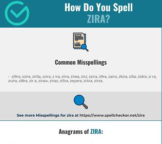 Correct spelling for zira