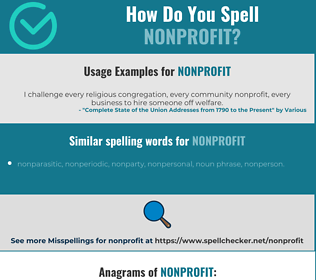 Correct spelling for nonprofit