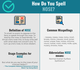 Correct spelling for nose