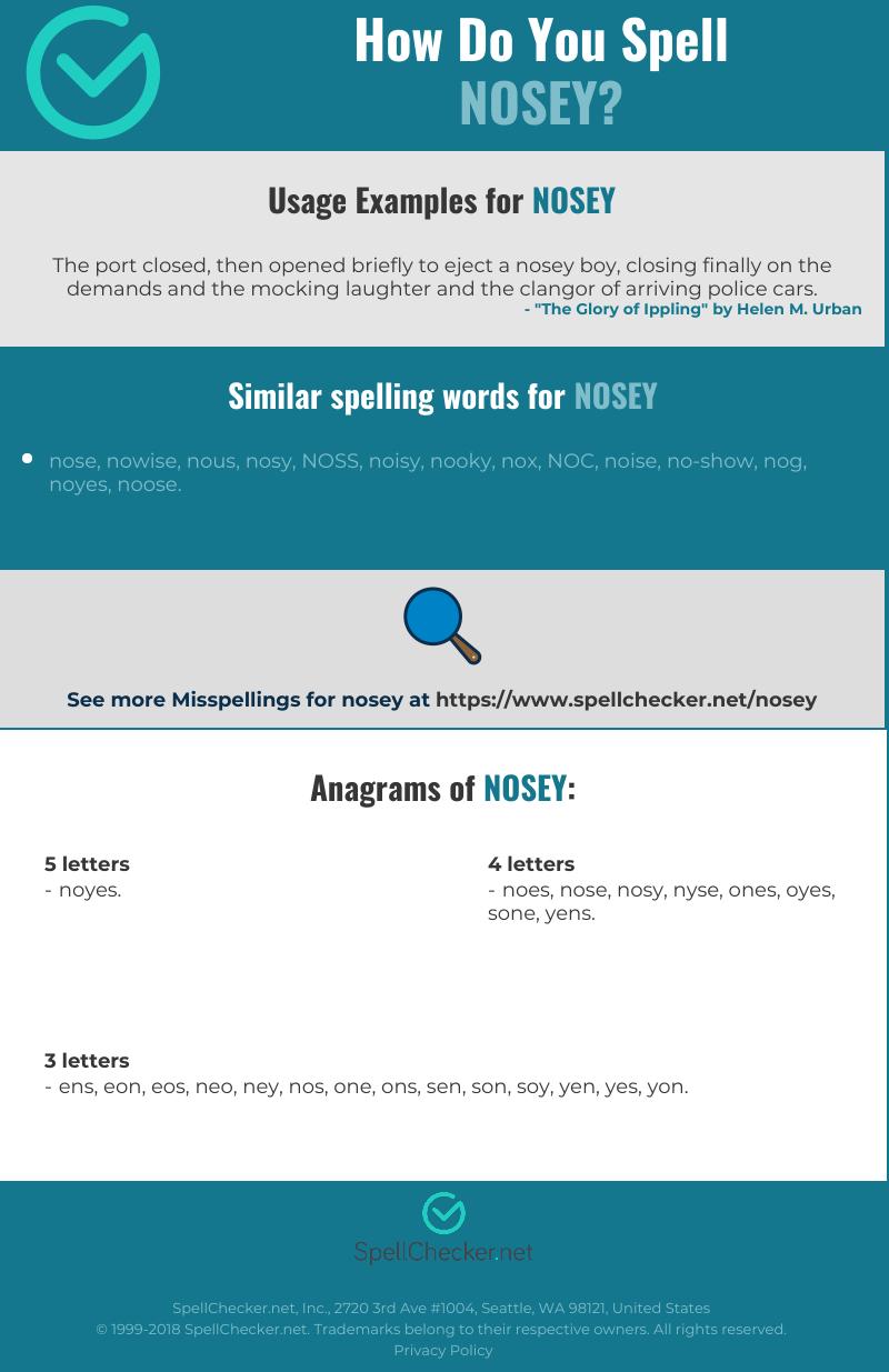 Correct spelling for nosey [Infographic] | Spellchecker net