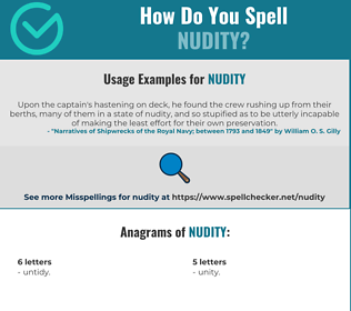 Correct spelling for nudity