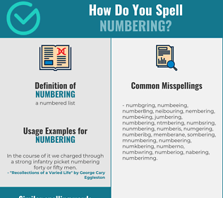 Correct spelling for numbering