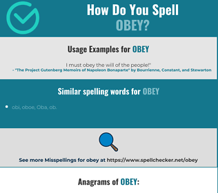 Correct spelling for obey