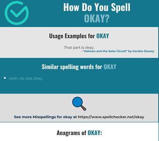 Correct spelling for okay