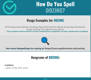 Correct spelling for oozing