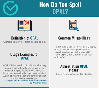 Correct spelling for opal