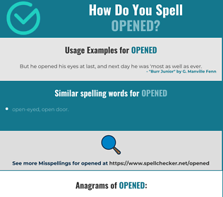 Correct spelling for opened