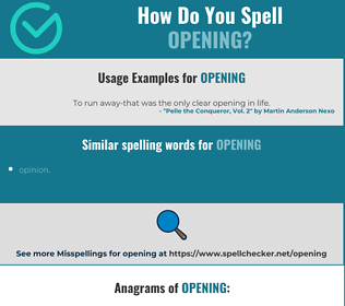 Correct spelling for opening