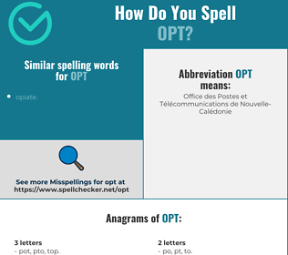 Correct spelling for opt