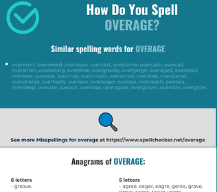 Correct spelling for overage