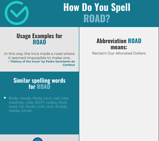 Correct spelling for road