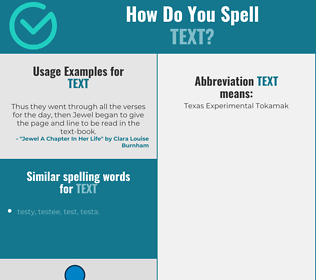 Correct spelling for text