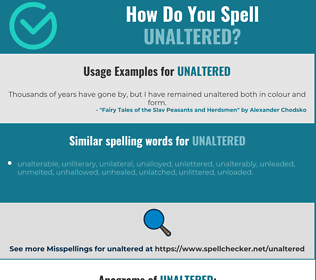 Correct spelling for unaltered