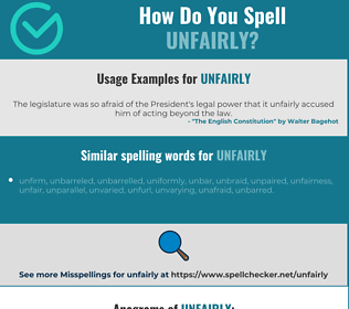 Correct spelling for unfairly