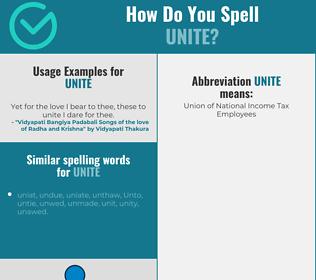 Correct spelling for unite