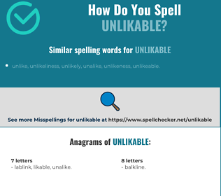 Correct spelling for unlikable