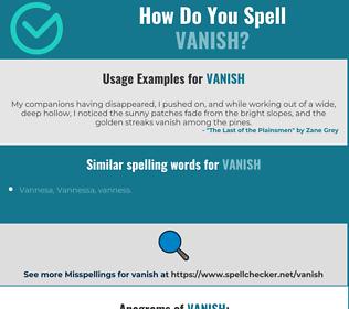 Correct spelling for vanish