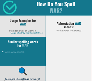 Correct spelling for war