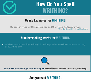 Correct spelling for writhing