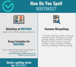 Correct spelling for writings