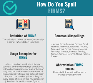 Correct spelling for Firms