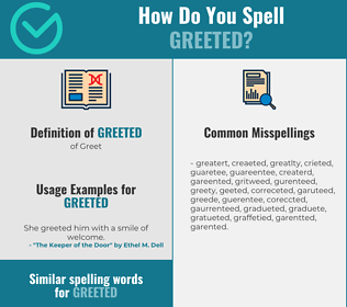 Correct spelling for Greeted