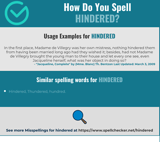 Correct spelling for Hindered