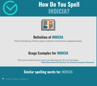 Correct spelling for Indicia
