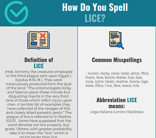 Correct spelling for Lice