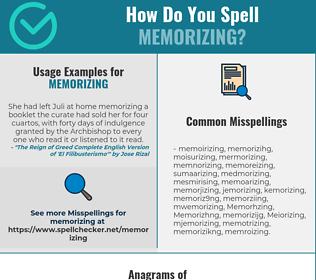 Correct spelling for Memorizing