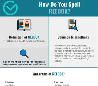 Correct spelling for Reebok
