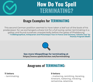 Correct spelling for Terminating