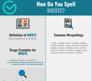 Correct spelling for Wrote