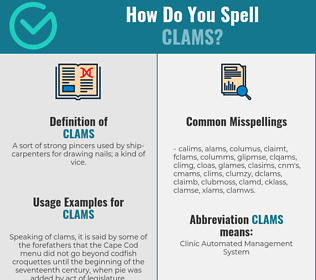 Correct spelling for clams