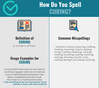 Correct spelling for curing