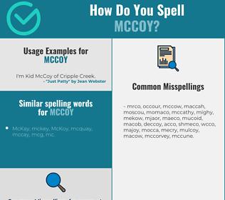 Correct spelling for McCoy