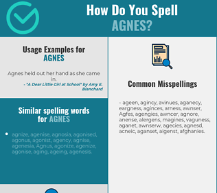Correct spelling for Agnes