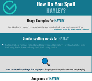Correct spelling for Hayley