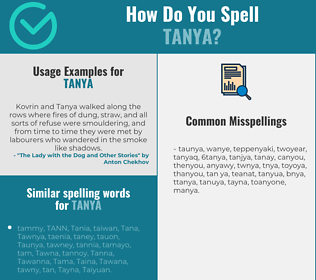Correct spelling for Tanya