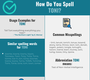 Correct spelling for Toni