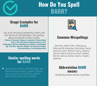Correct spelling for Barr