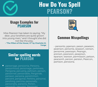 Correct spelling for Pearson