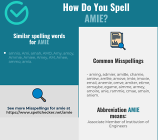 Correct spelling for Amie