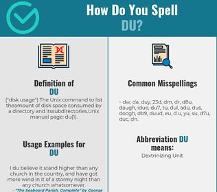 Correct spelling for Du