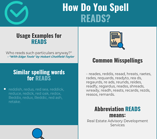Correct spelling for reads