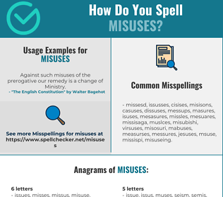 Correct spelling for misuses