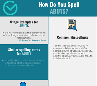 Correct spelling for abuts
