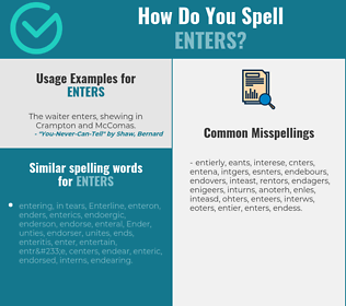 Correct spelling for enters